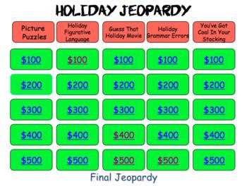 Christmas Jeopardy.Christmas Jeopardy With A Language Arts Twist
