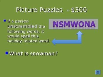 Christmas Jeopardy (With a Language Arts Twist)