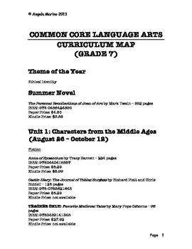Common Core Language Arts Curriculum Map - Grade 7