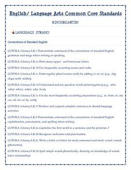 Language Arts Common Core Standards