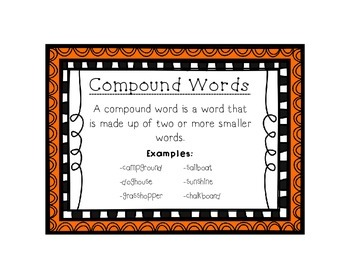 Language Arts Compound Words Task Cards Center