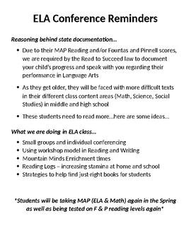 Language Arts Conference Reminders Cheat Sheet