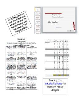 Middle School Language Arts Content Vocabulary Mega Package