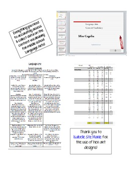 Middle School Language Arts Content Vocabulary Mega Package