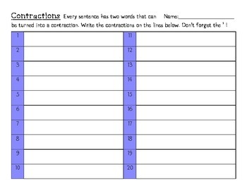 Language Arts Contractions Task Cards Center