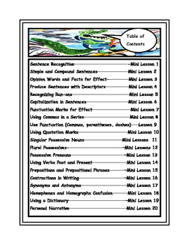 Language Arts Core (20 Writing Mini Lessons Bundled)