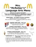 Language Arts Daily Activity Menu