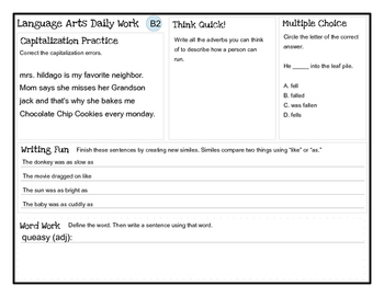 Language Arts Daily Work (grades 3-5)