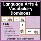 Language Arts Vocabulary Dominoes Literacy Center or  Word Work
