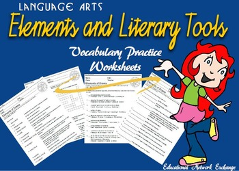 Language Arts: Elements and Literary Tools Vocabulary Practice Worksheets