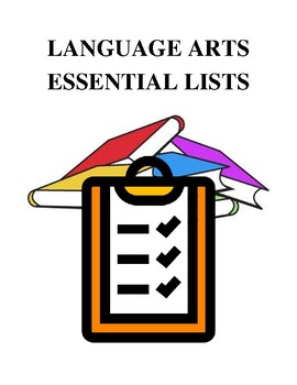 Language Arts Essential Lists - Handouts and Printables