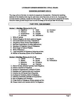 Language Arts Exam: The Odyssey (9th grade)