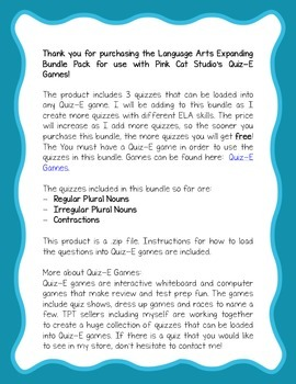 Language Arts Expanding Games Bundle for Use in Quiz-E Games