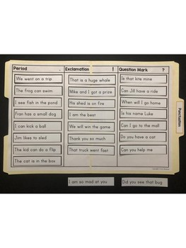 Language Arts File Folder Activity ~ Punctuation