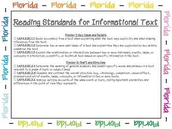 Language Arts Florida Standards Checklist for Fifth Grade
