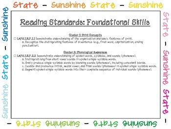 Language Arts Florida Standards Checklist for First Grade