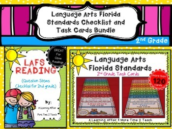 Language Arts Florida Standards (LAFS) 2nd Grade Checklist & Task Cards Bundle