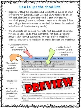 Language Arts Florida Standards (LAFS) 3rd Grade Question Stems Checklist
