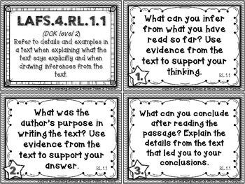 Language Arts Florida Standards (LAFS) 4th Grade Task Cards