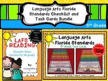 Language Arts Florida Standards (LAFS) 5th Grade Checklist & Task Cards Bundle