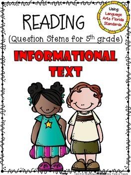 Language Arts Florida Standards (LAFS) 5th Grade Question Stems Checklist