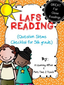 Language Arts Florida Standards (LAFS) 5th Grade Question Stems Checklist