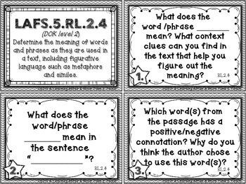 Language Arts Florida Standards (LAFS) 5th Grade Task Cards