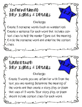 LAFS Reading Response Cards (Fiction and Non-Fiction): Craft and Structure