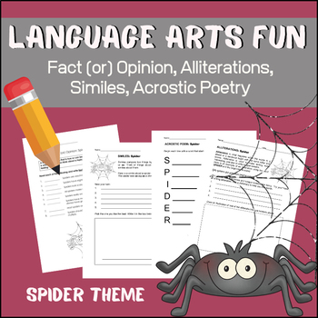Language Arts Fun - Similes, Alliteration, Fact or Opinion, Acrostic Poetry