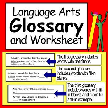 Language Arts Glossary and Worksheet