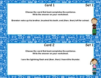 Commonly Confused Words-Language Arts-Grades 3-4-60 Task Cards