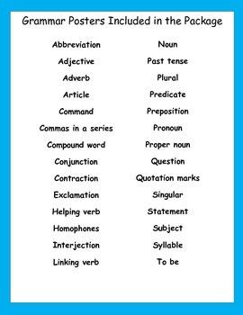 Language Arts Grammar Posters