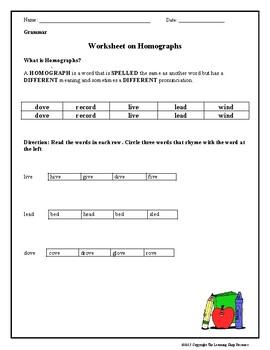 Homograph Worksheets | Teachers Pay Teachers