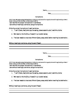 Language Arts Homophones Assessment