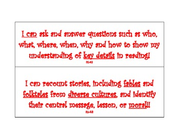 """Language Arts """"I Can"""" statements aligned to Common Core Standards"""