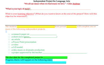 Language Arts Independent Project Handout