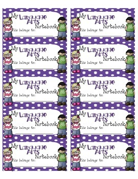Language Arts Interactive Notebook Labels