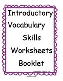 Language Arts Vocabulary Worksheets Booklet