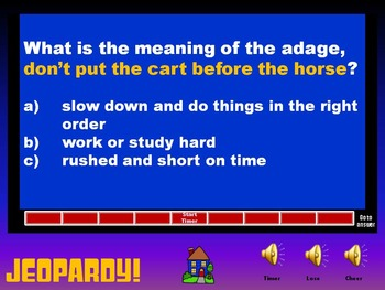 Language Arts Jeopardy: End of the Year Review 4th Grade Set 2