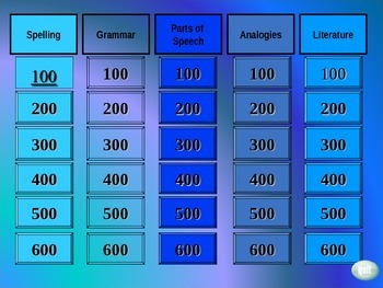 Language Arts Jeopardy Game 6