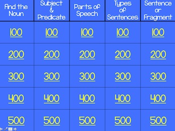 Language Arts Jeopardy Powerpoint: Volume 1
