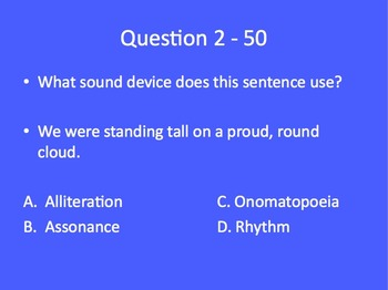 Language Arts Jeopardy Review Game