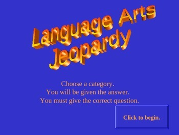 Language Arts Jeopardy Review Game PowerPoint