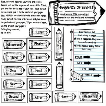 Sequence of Events using Transitional Words Activities