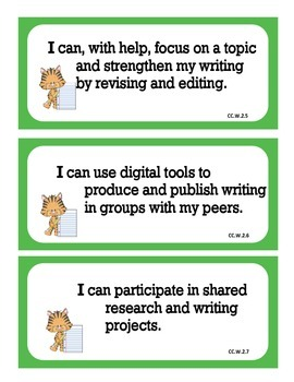 Language Arts Learning Targets for 2nd Grade Common Core Standards