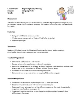 Language Arts Lesson Plans - Letter Writing, Beginning Essay Writing