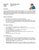 Language Arts Lesson Plans - Descriptive Paragraphs, Classroom Newspaper