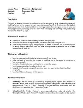 Language Arts Lesson Plans - Descriptive Paragraphs, Class