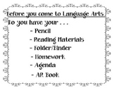 Language Arts Materials Sign