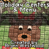 Language Arts & Math Holiday Centers & Menu For First Grade
